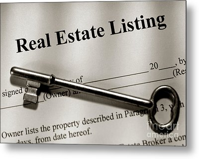 Real Estate Listing Contract And Old House Key Metal Print by Olivier Le Queinec