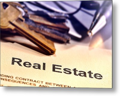 Real Estate Title Word On A Realtor Contract Page Metal Print by Olivier Le Queinec