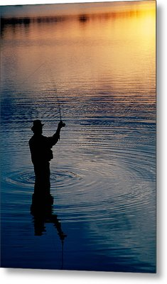 Rear View Of Fly-fisherman Silhouetted Metal Print by Panoramic Images