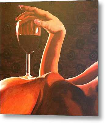 Recline With Wine Metal Print by Carol Ann