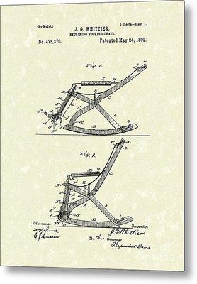 Reclining Rocker 1892 Patent Art Metal Print by Prior Art Design