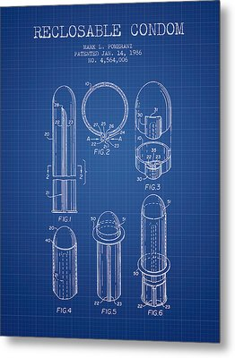 Reclosable Condom Patent From 1986 - Blueprint Metal Print by Aged Pixel