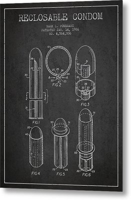 Reclosable Condom Patent From 1986 - Charcoal Metal Print by Aged Pixel