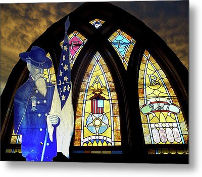 Recollection Union Soldier Stained Glass Window Digital Art Metal Print by Thomas Woolworth