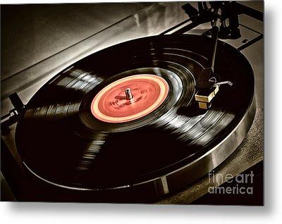 Record On Turntable Metal Print by Elena Elisseeva