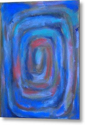 Rectangular Blue Pastel Spiral Metal Print by Kazuya Akimoto