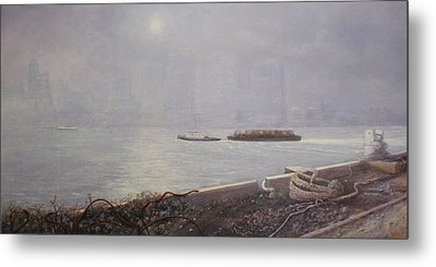 Recycling Barge On The Thames River Metal Print by Eric Bellis