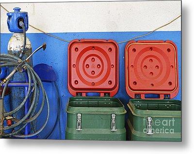 Recycling Bins And Gas Bottles Metal Print by Sami Sarkis