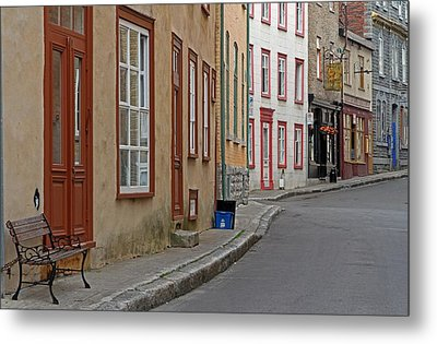 Recycling On Rue Couillard In Quebec City Metal Print by Juergen Roth