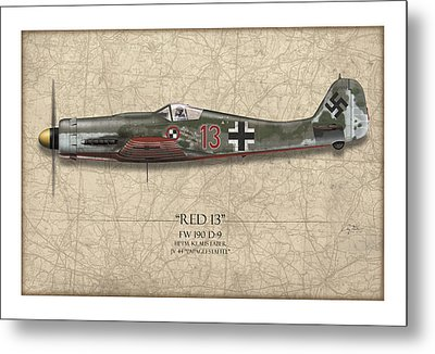 Red 13 Focke-wulf Fw 190d - Map Background Metal Print by Craig Tinder