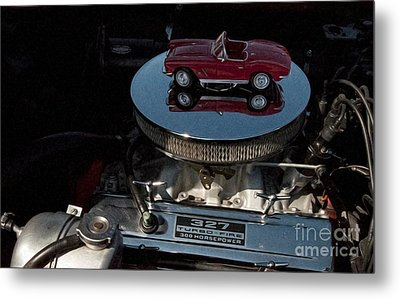 Red 1962 Chevrolet Corvette - Engine 327 - 300 Metal Print by Liane Wright