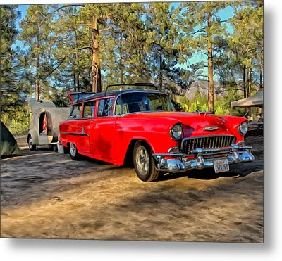 Red '55 Chevy Wagon Metal Print by Michael Pickett