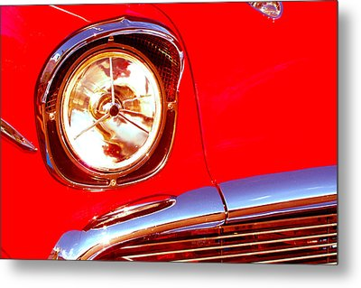 Red 57 Chevy Close Up Metal Print