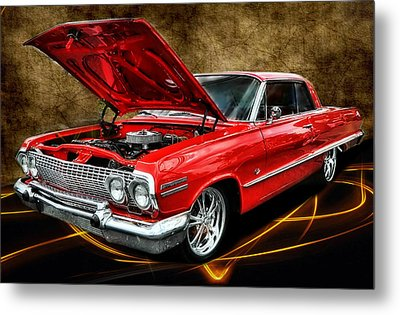 Red '63 Impala Metal Print by Victor Montgomery
