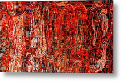 Red Abstract Panel Metal Print by Carol Groenen