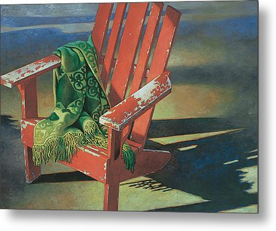 Red Adirondack Chair Metal Print by Mia Tavonatti