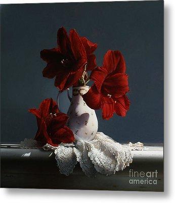 Red Amaryllis Flowers  Metal Print by Larry Preston