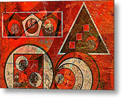 Red And Black Abstract Metal Print by Ally  White