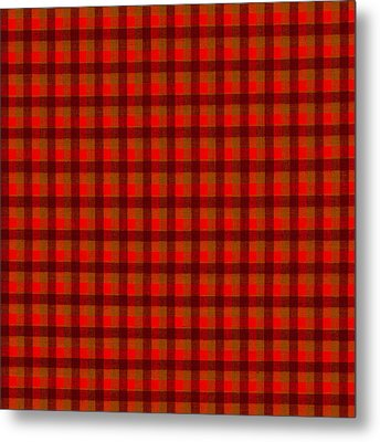 Red And Black Checkered Tablecloth Cloth Background Metal Print