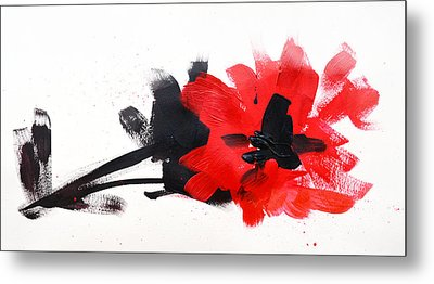 Red And Black Floral II Metal Print by Patricia Awapara