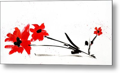 Red And Black Floral Metal Print by Patricia Awapara