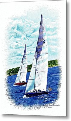 Red And Blue Sailboats Metal Print by Judy Skaltsounis