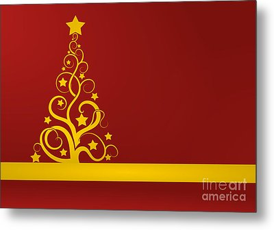 Red And Gold Christmas Card Metal Print by Martin Capek