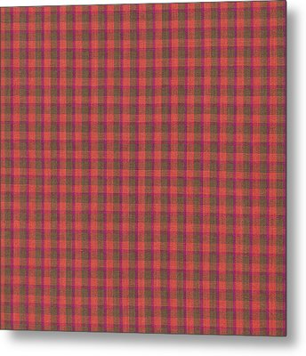 Red And Green Checked Plaid Pattern Cloth Background Metal Print