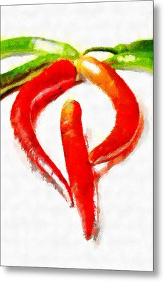 Red And Green Chili Peppers Painting Metal Print by Magomed Magomedagaev