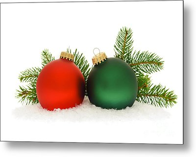 Red And Green Christmas Baubles Metal Print