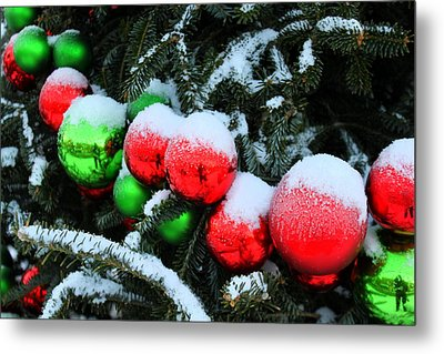 Red And Green Christmas Ornaments Metal Print