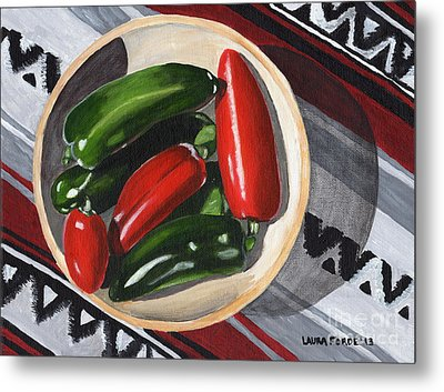 Red And Green Peppers Metal Print by Laura Forde