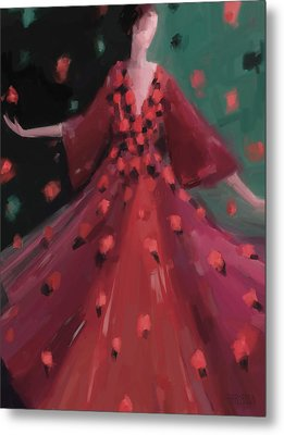 Red And Orange Petal Dress Fashion Art Metal Print