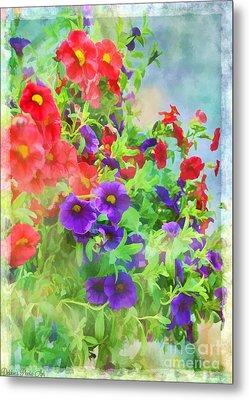 Red And Purple Calibrachoa - Digital Paint I Metal Print by Debbie Portwood