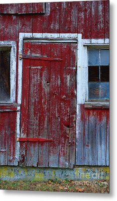 Red And Weathered Door Metal Print by Paul Ward