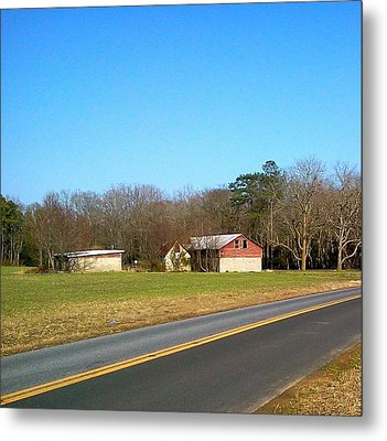 Red And White Barn With Trees Metal Print