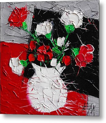 Red And White Carnations Metal Print by Mona Edulesco