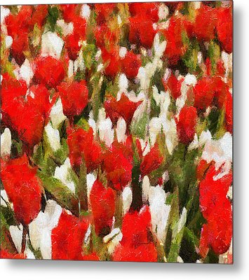 Red And White Flowers Metal Print by Yury Malkov