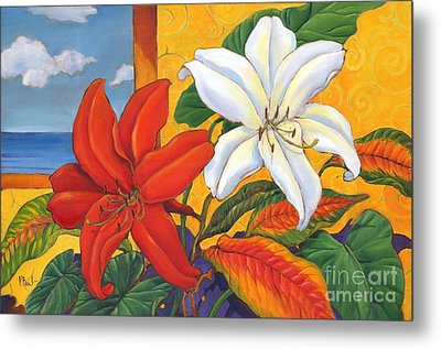 Red And White Lillies Metal Print by Paul Brent