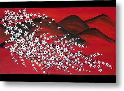 Red And White Sakura Metal Print by Cathy Jacobs