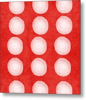 Red And White Shibori Circles Metal Print