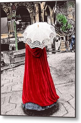 Red And White Walking Metal Print by Kae Cheatham