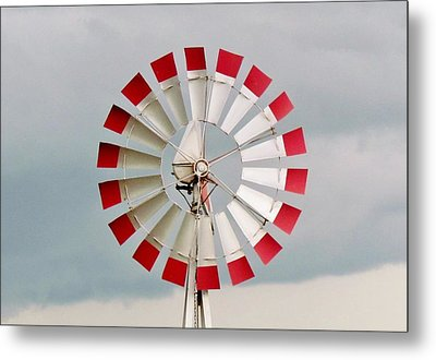 Metal Print featuring the photograph Red And White Windmill by Cynthia Guinn