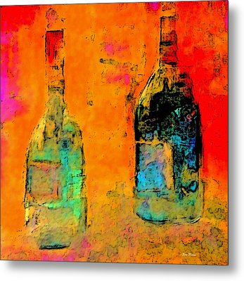 Metal Print featuring the painting Red And White Wine by Lisa Kaiser