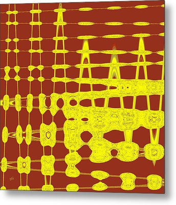 Red And Yellow Wave No 2 Metal Print by Ben and Raisa Gertsberg