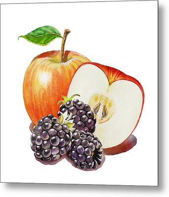 Red Apple And Blackberries Metal Print by Irina Sztukowski