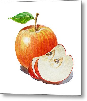 Red Apple With Slices Metal Print