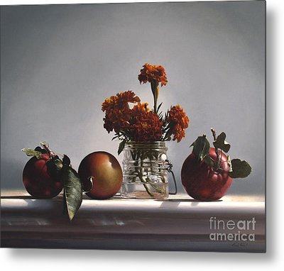 Red Apples And Marigolds Metal Print by Larry Preston
