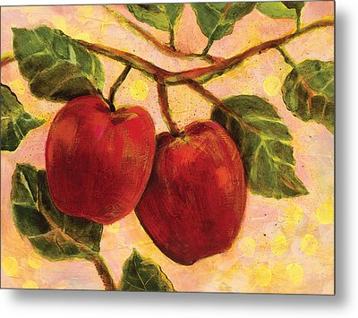 Red Apples On A Branch Metal Print