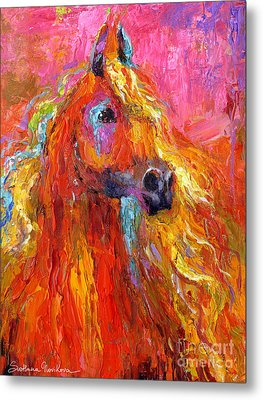 Red Arabian Horse Impressionistic Painting Metal Print